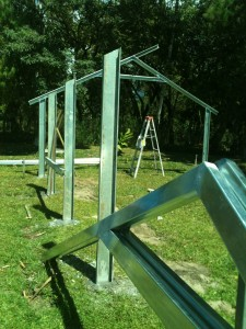 Early stage of building the metal greenhouse